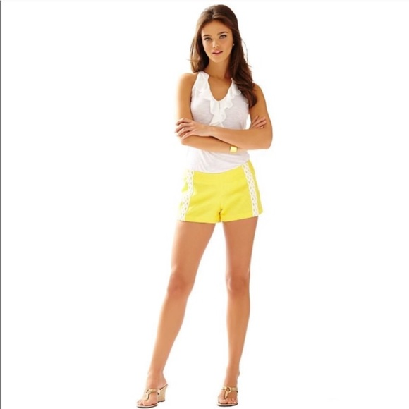 Lilly Pulitzer Yellow Embroidered Liza Shorts